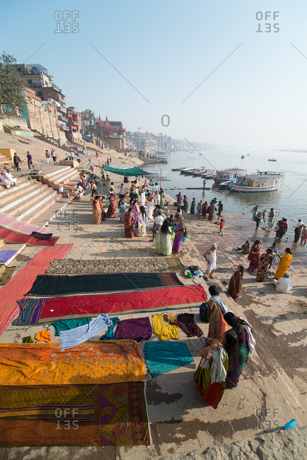 3/22/14: Washing clothes on the Ganges River, Varanasi, India