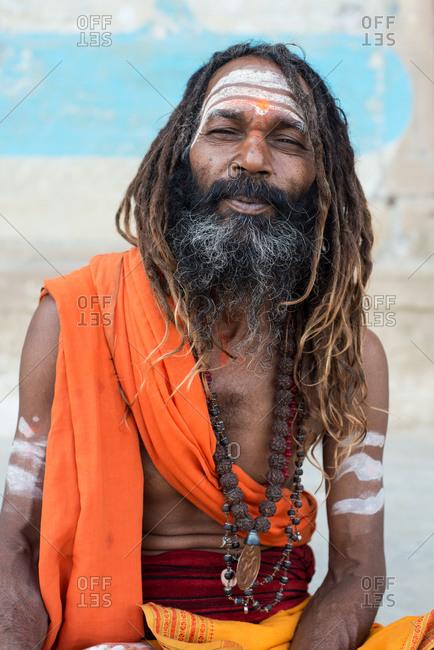 3/22/14: Sadhu with painted face in Varanasi, India