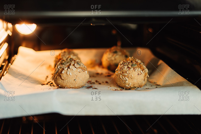 Bread balls baking in the oven