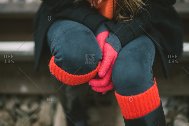Close up of woman wearing red and black