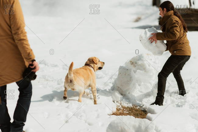 Man picking up a large chunk of snow while his dog watches