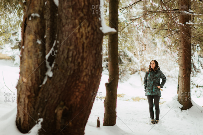 Stylish young woman standing in a snowy forest