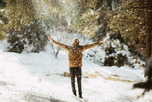 Man standing in a forest scattering snow