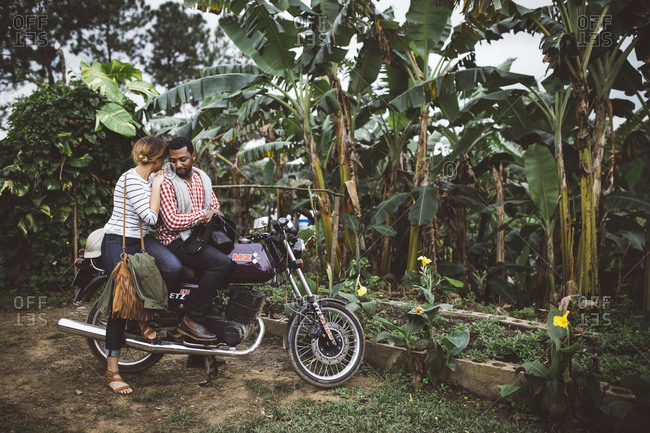January 12, 2016: Couple on motorcycle in rural Cuba