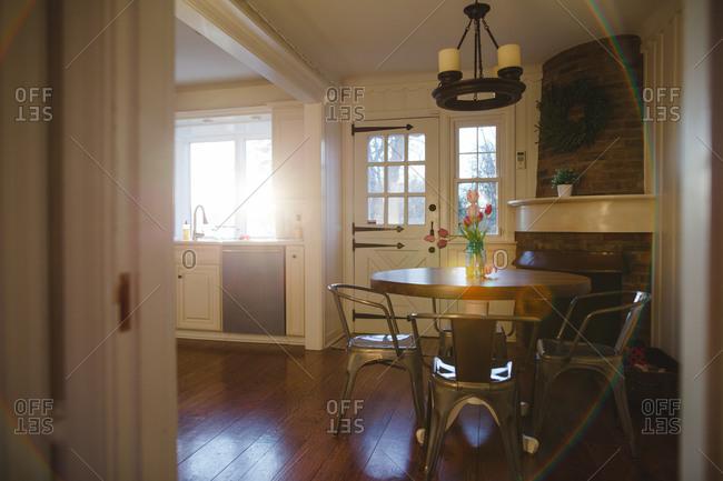 Sun dappled dining table