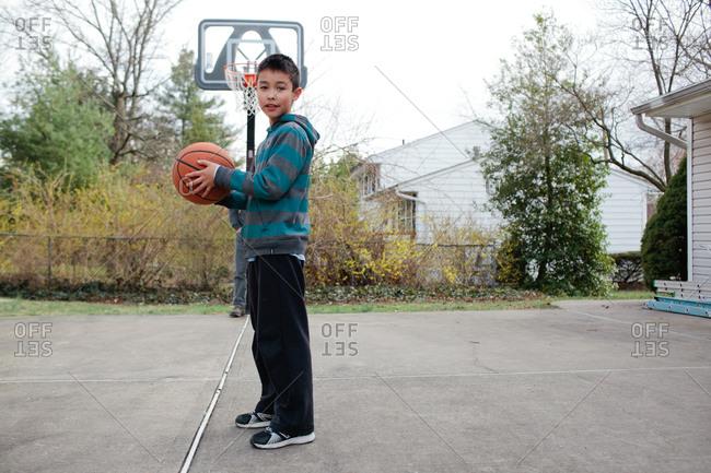 Boy holding a basketball