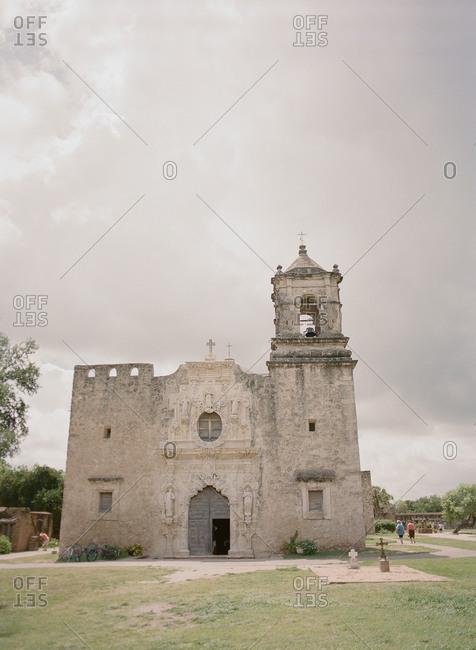 Facade of the historic limestone Mission San Jose, San Antonio, Texas