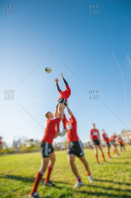 Rugby Union players performing a lineout lifting during preparation exercise for the big game