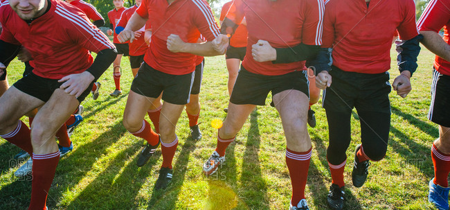 Rugby players running on the field after the ball with sun behind them