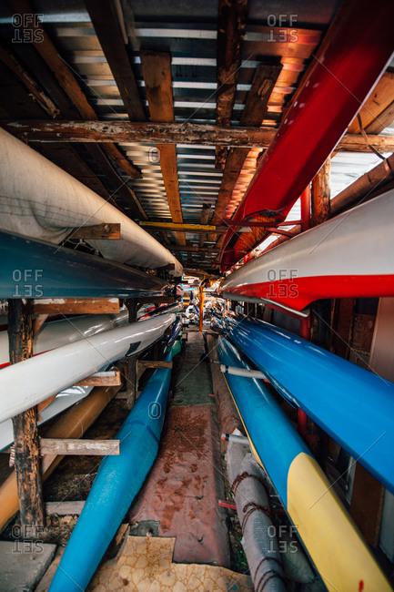 Sprint canoes standing on rack in club deposit