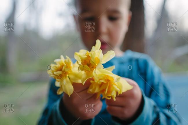 Little boy holding yellow flowers