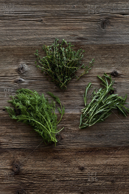 Bunches of rosemary, thyme and dill on a rustic wooden table