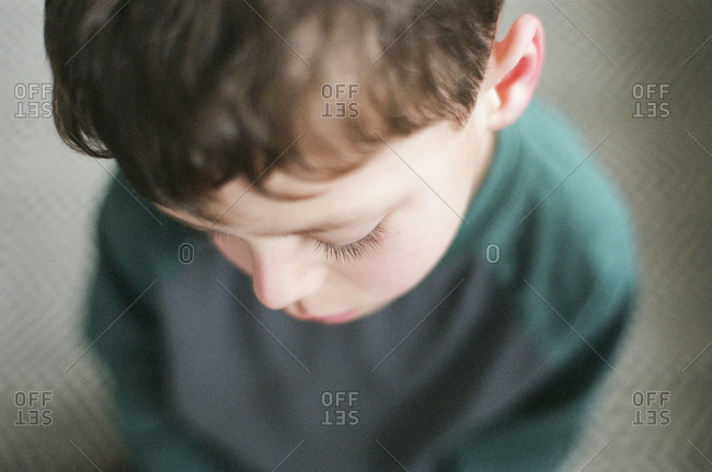High angle portrait boy