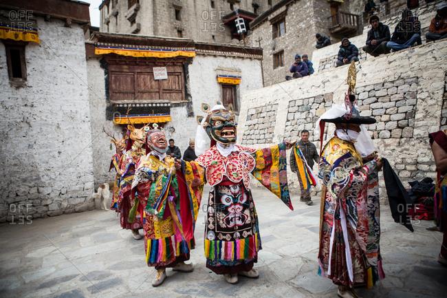 Leh, India - February 18, 2015: Costumed performers