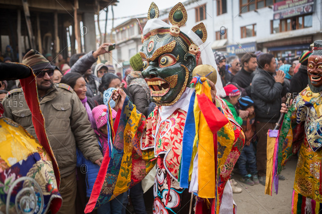 Leh, India - February 18, 2015: Crowds watching procession