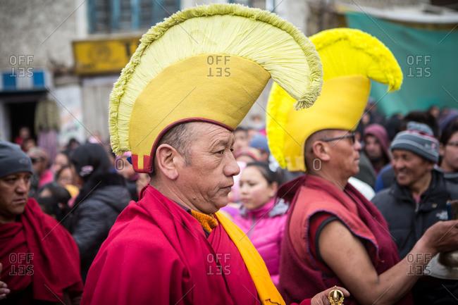 Leh, India - February 18, 2015: Men in Tibetan festival