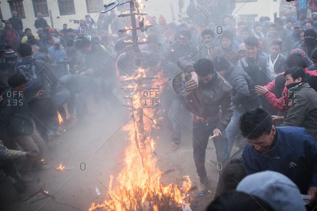 Leh, India - February 18, 2015: Burning effigy in Buddhist celebration
