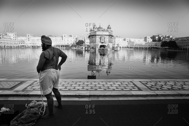 Amritsar, India - March 19, 2015: Man near Sikh temple