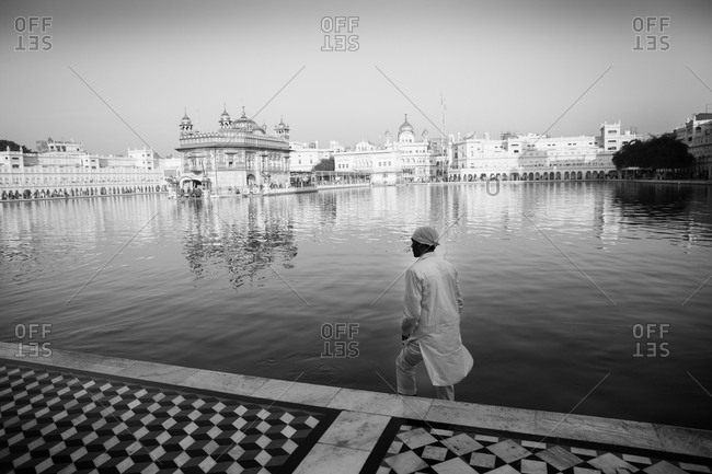 Amritsar, India - March 19, 2015: Man by Sikh temple