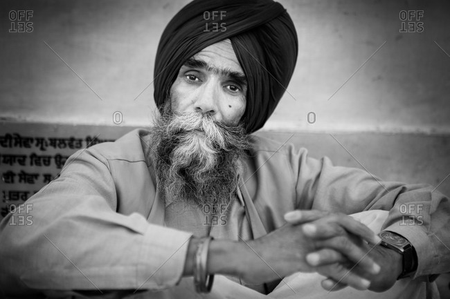 Amritsar, India - March 19, 2015: Portrait of Sikh man