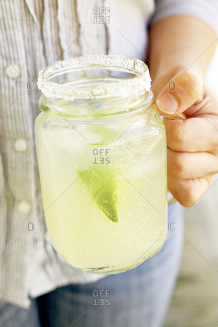 Salted Lemon-Limeade in a mason jar