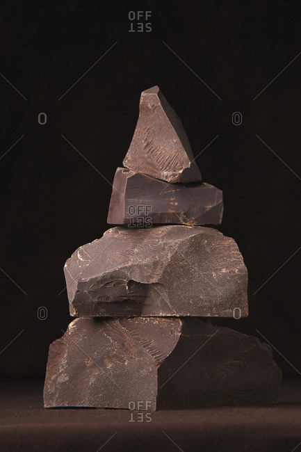 chocolate pieces stacked on the table