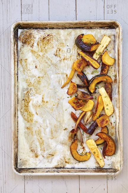 roasted root veggies on a sheet pan