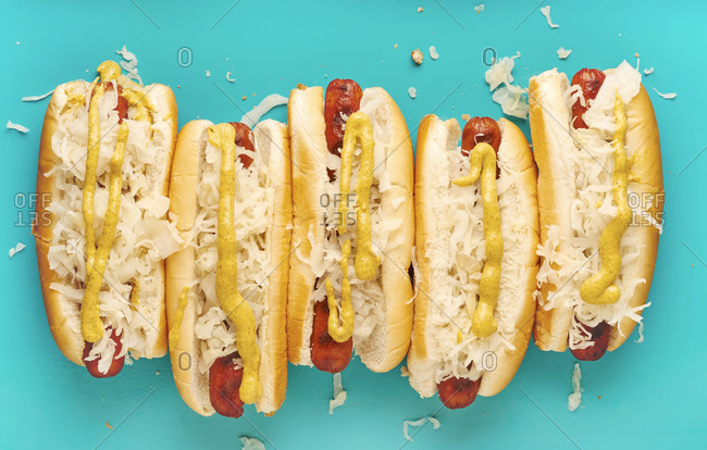 Hot dogs with mustard and sauerkraut