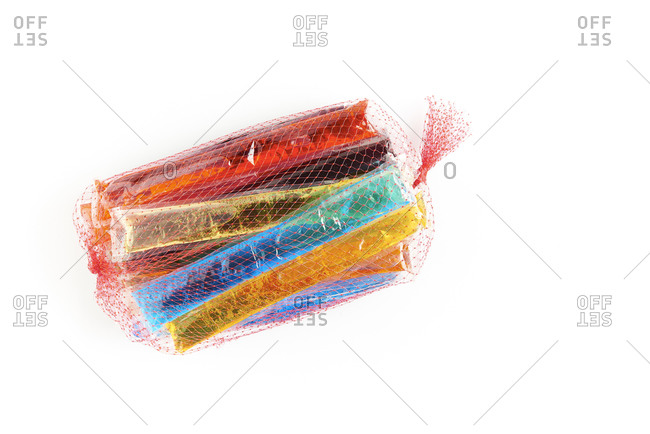 bag of freeze pops on a white background