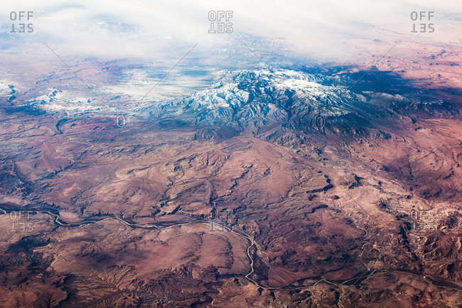 Snowy mountain from far above