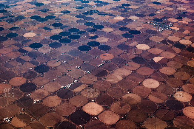 Round plots of land from above
