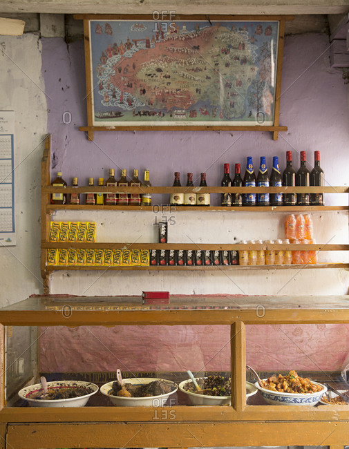 Bhutan - May 19, 2015: A traditional shop in Thimbu, Bhutan