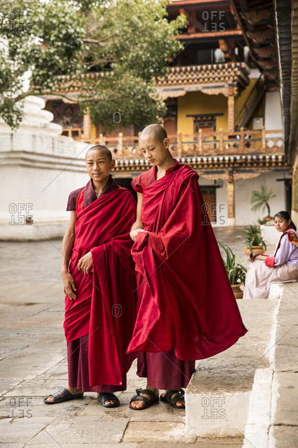 Bhutan - May 20, 2015: Young Buddhist monks in Punakha Dzong, Bhutan