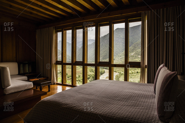 Bhutan - May 20, 2015: View of the Punakha Valley from Uma by Como hotel room