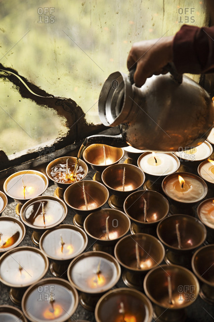 Buddhist prayer candles, Bhutan