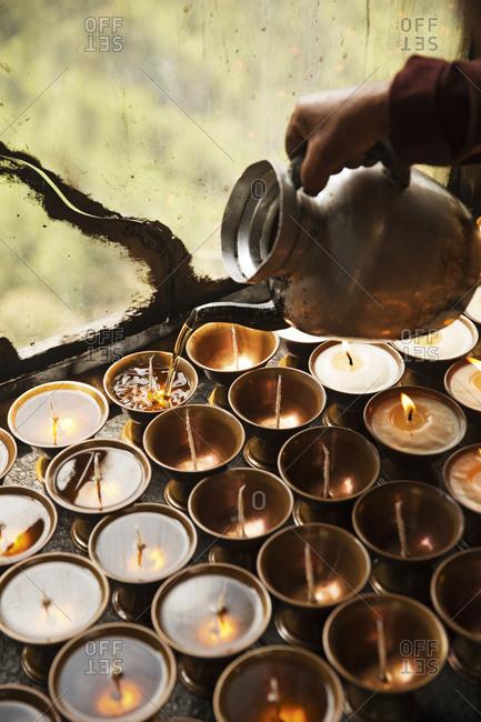 Buddhist prayer candles, Bhutan
