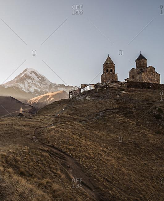 Gergeti Trinity Church, an Orthodox mountain church in Stepandsminda, Georgia