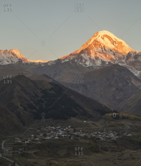 A view of the Kazbegi valley, Georgia