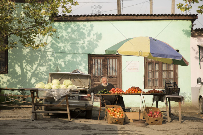 Tbilisi - September 28, 2015: A vegetable and fruit stand at a food market in Sighnaghi, Georgia