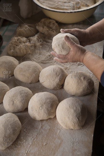 Traditional sourdough bread being made, Signaghi, Georgia