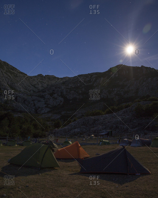 Tents pitched along the GR20 hiking trail on the island of Corsica