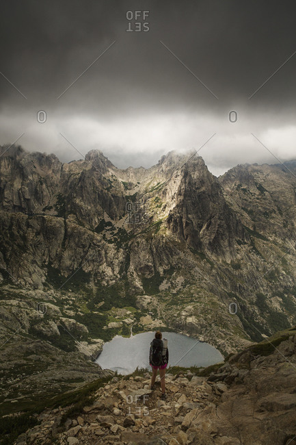 Hiker in the mountains on the island Corsica