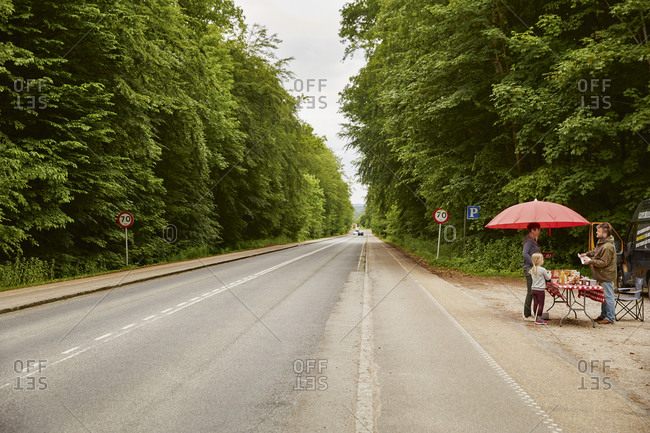 Denmark - June 17, 2014: A man selling local produce along a road in Strandvejen, Denmark