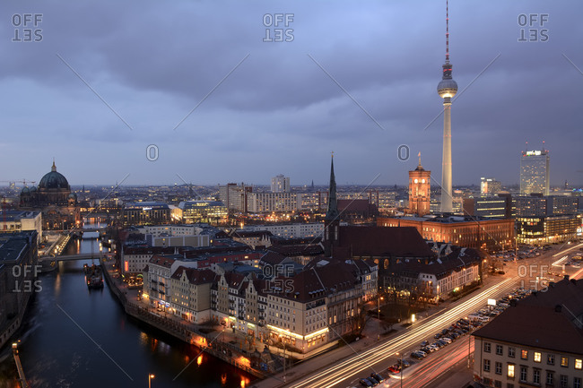 Berlin TV Tower and Leipziger Strasse in the evening