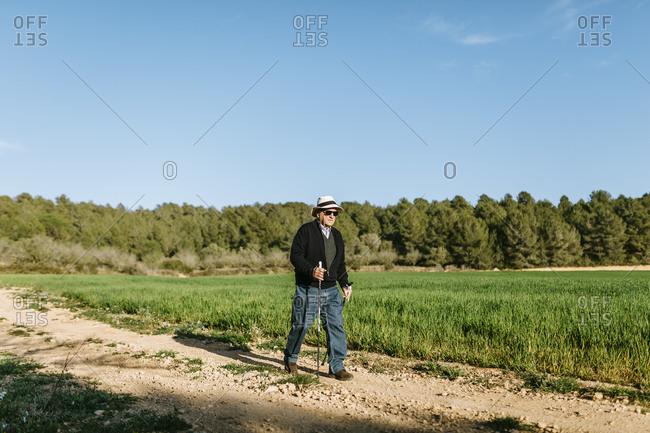 Senior man walking with sticks in a field