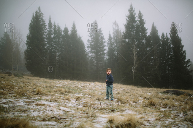 Boy on snowy hill