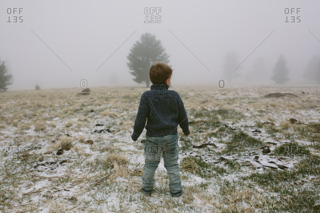 Boy in snowy winter setting