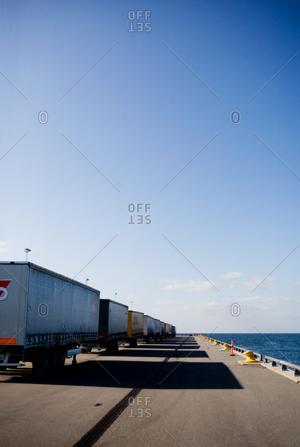 Truck trailers in a row
