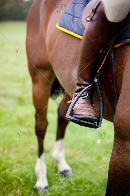 Low section of a jockey riding racehorse