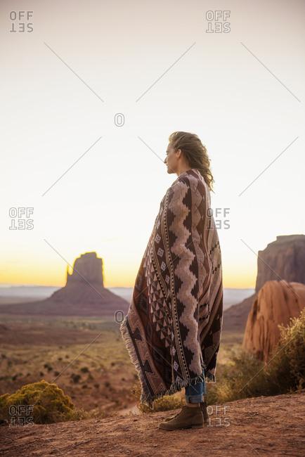 Woman admiring desert landscape